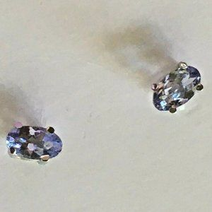 Natural Tanzanite Earrings 14k White Gold Setting